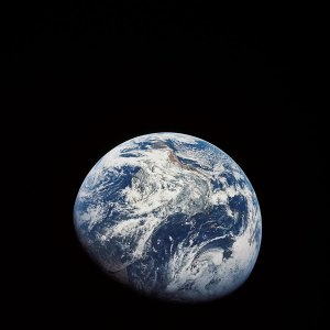 Looking back at earth from Apollo 8.