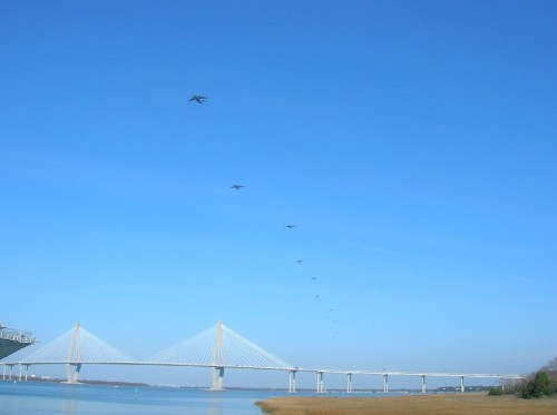 Thirteen C-17s fly by Patriots Point. No landings on CV-10 attempted!