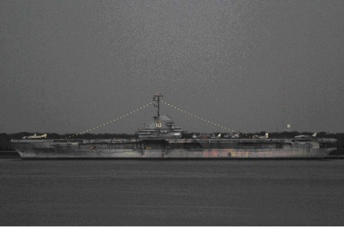 USS Yorktown at night, February 2009.