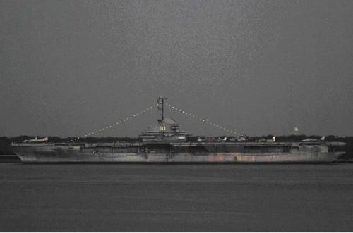 USS Yorktown at night, February 2009.
