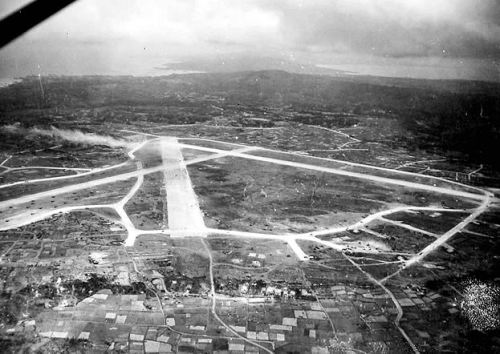 Looking south at Yontan airfield on Okinawa in 1945.
