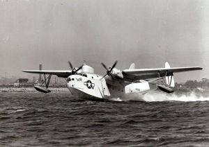 A USCG PBM Mariner taking off from San Diego on ASW (antisubmarine) patrol in 1944.