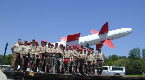 Troop 9, Worcester, MA, in front of a TALOS surface to air missile.