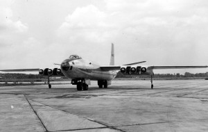 Martin XB-48. Note the cooling air tunnels between to engine nacelles. (U.S. Air Force photo)
