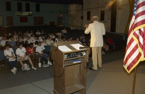 Colonel Quincy Collins, USAF (Ret), speaks to YLC students in 2008.
