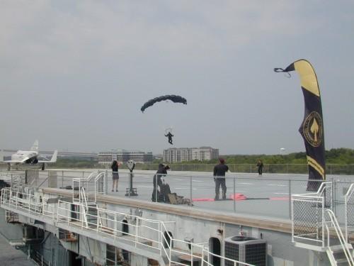 Army parachutist lands on Yorktown.