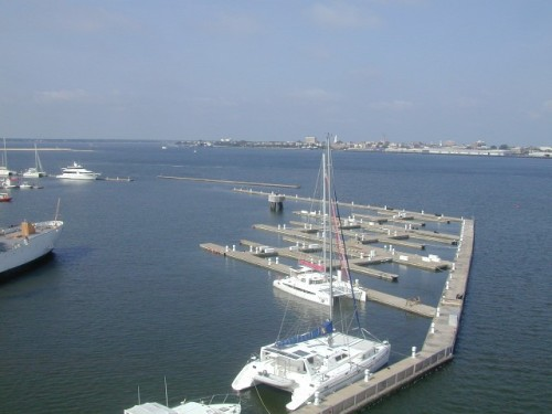 Charleston Harbor marina has been moving sections of its dock to make room for movement of Laffey and Ingham in August.