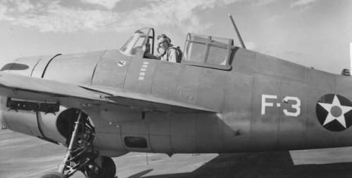Lt. Butch O'Hare in his VF-3 F-4F-3A Wildcat.