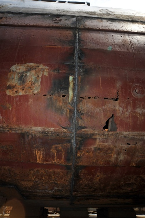 Holes and damage to hull of the Laffey.