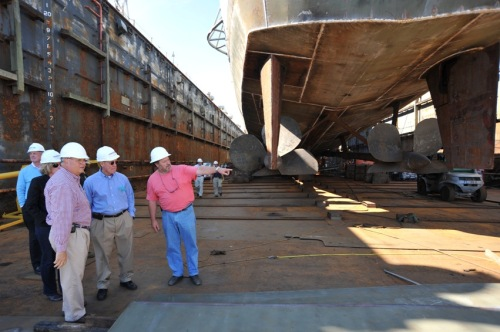 Work on the aft portions of Laffey shows much progress in restoring her hull integrity.