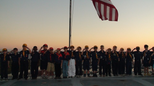 Cub scouts assembled on the aft end of the flight deck for flag program.